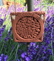 A personalised Herb Garden tile amongst Lavender in Swalcliffe (UK)