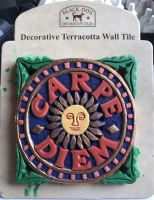 An imaginatively painted Carpe Diem tile from Madrid (Spain)
