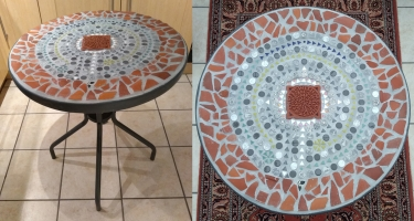 A wonderful mosaic table top with St. Patricks Prayer in Tavenham UK
