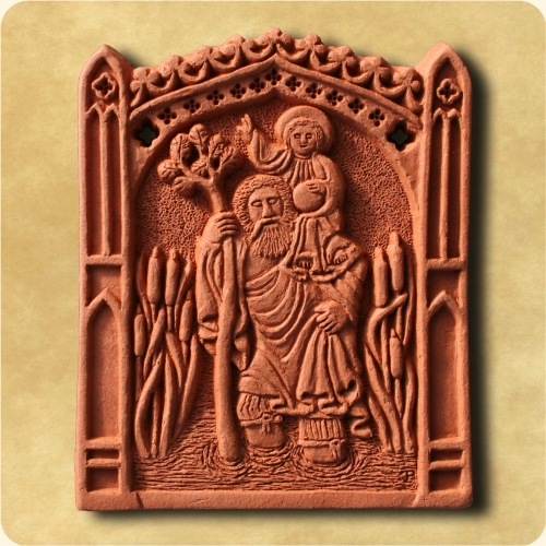 St Christopher decorative wall tile
