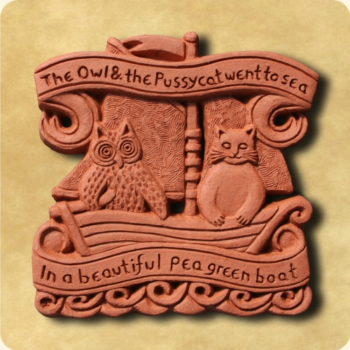 Owl and Pussycat decorative wall tile
